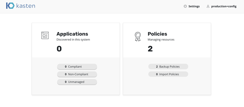 production config dashboard